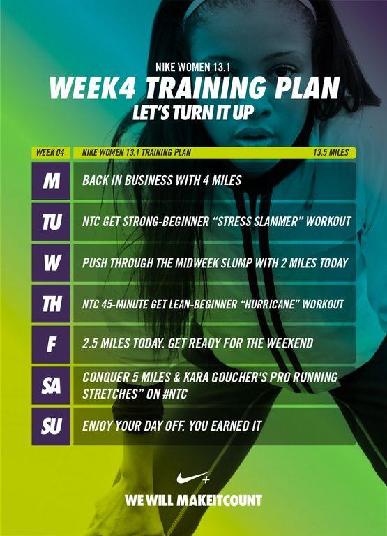 El diseño Estudiante juguete  Week 4 - Nike 13.1 Training Plan | Ejercicios, Salud, Fun.