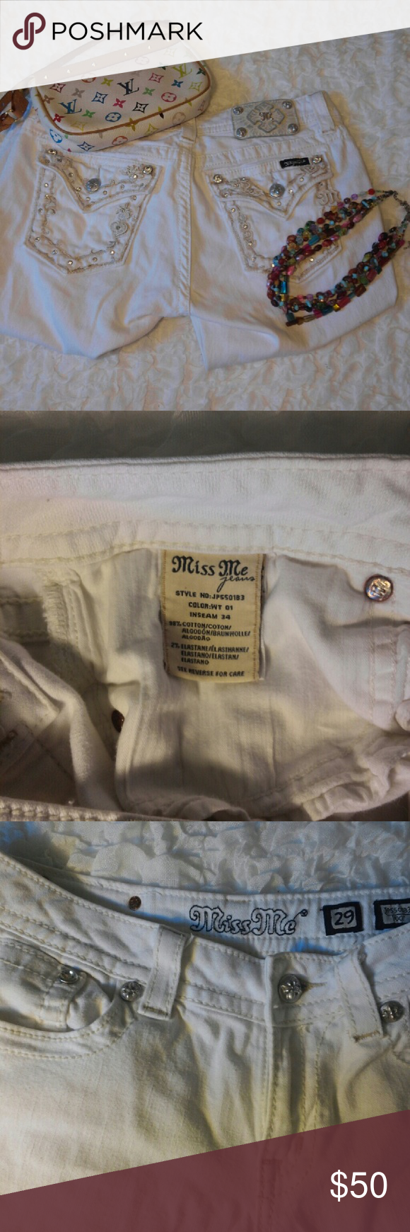 """White Miss Me jeans size 29 Tag says 34"""" inseam. Great condition. Good looking jeans, something a little different in the white color and a really great pocket! Miss Me Pants Boot Cut & Flare"""