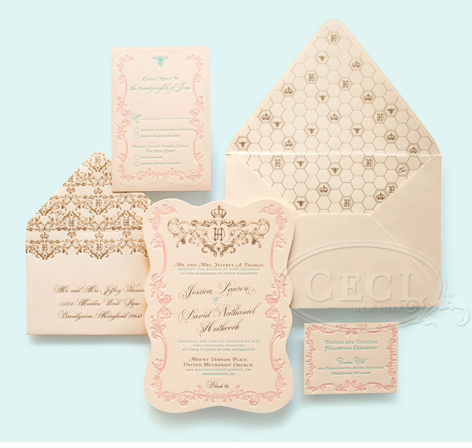 17 Best images about Weddingfairepart – Gold and Pink Wedding Invitations