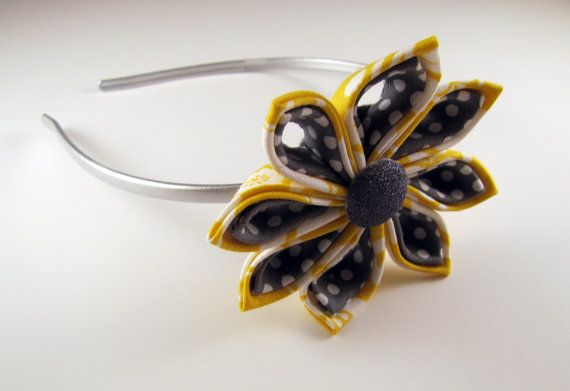 Gray and yellow Tsumami Kanzashi flower headband hair accessory. $8.00, via Etsy.