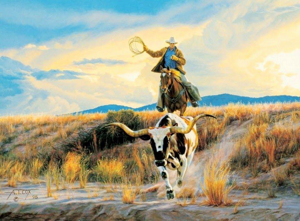 Hermosos paisajes con caballos y vaqueros en pinturas pintura animales caballo pinterest - Cuadros de vacas ...