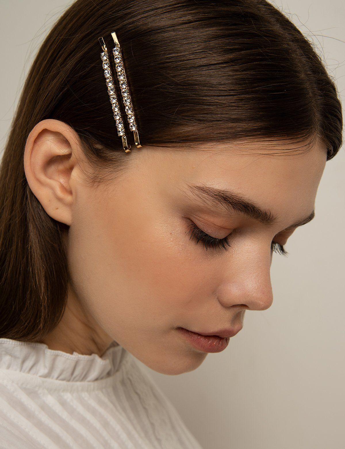 Diamond Bar Hair Clip in 12  Diamond hair, Rhinestone hair pin