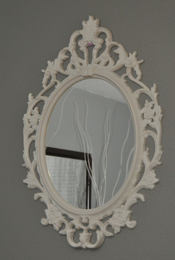 New ikea ung drill mirror oval white vintage shabby inspired ...