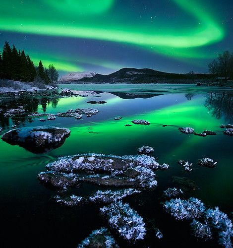 Northern lights on lake surface at early winter - Where? (not exactly sure this is in Finland, could be Sweden or any other similar place, but this looks exactly like Finnish winter scenery)