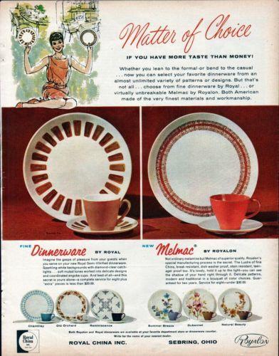 1963 Royal China Royalon Melmac Dinnerware 8 Patterns Ad & First Act MG501 Ukulele | Dinnerware China and Retro kitchen ...