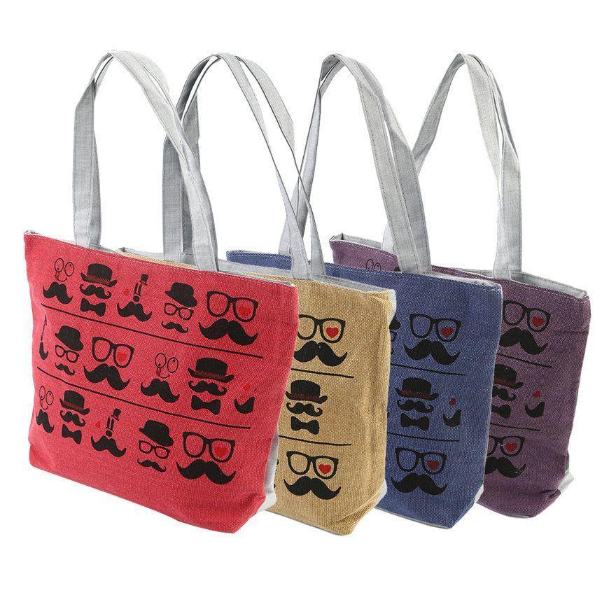 Eco-Friendly Reusable Beard Floral Single Shoulder Handle Bag For Shopping Be
