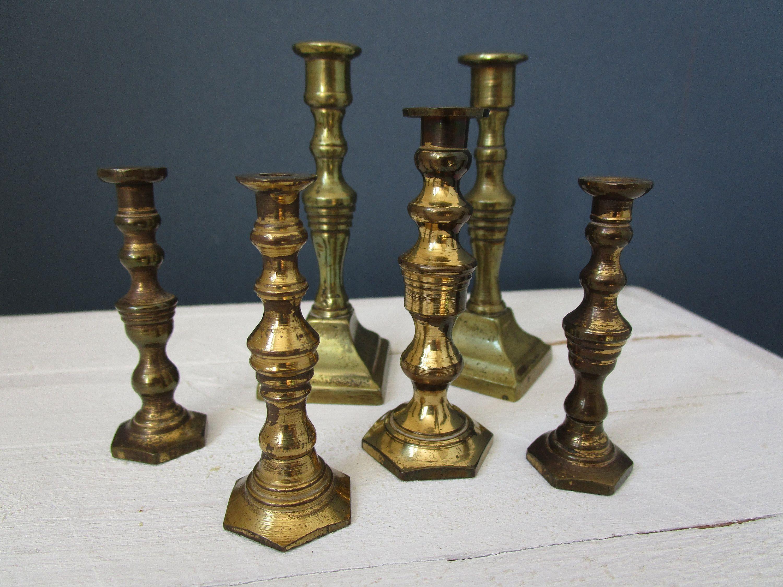 Miniature Brass Candlesticks Instant Collection Vintage Brass Etsy Brass Candlesticks Vintage Brass Candlesticks Brass Candle