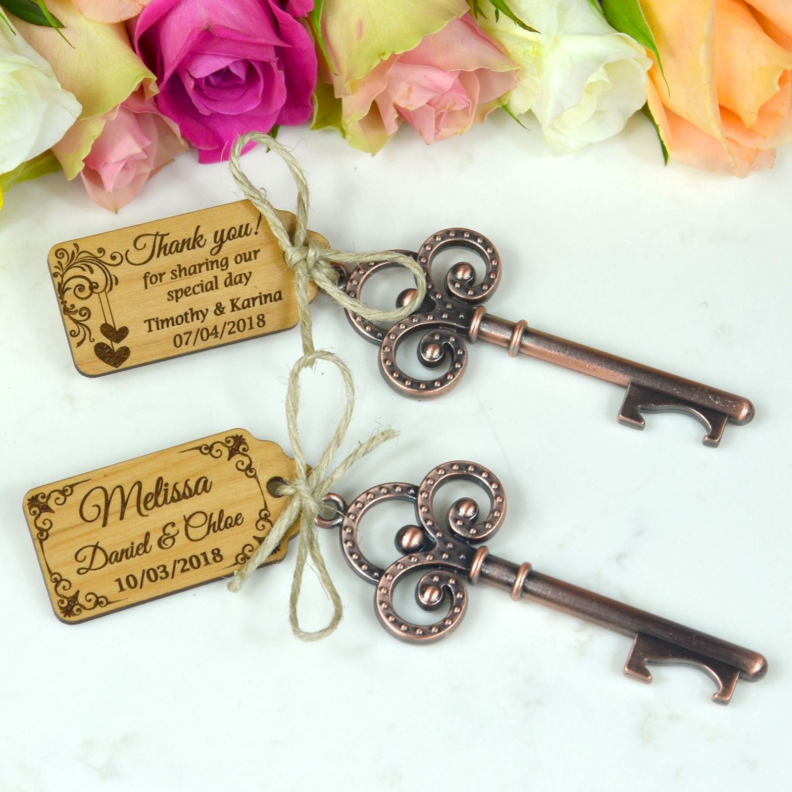Key Bottle Opener with Wooden Gift Tag Rustic Wedding Favor | Key ...