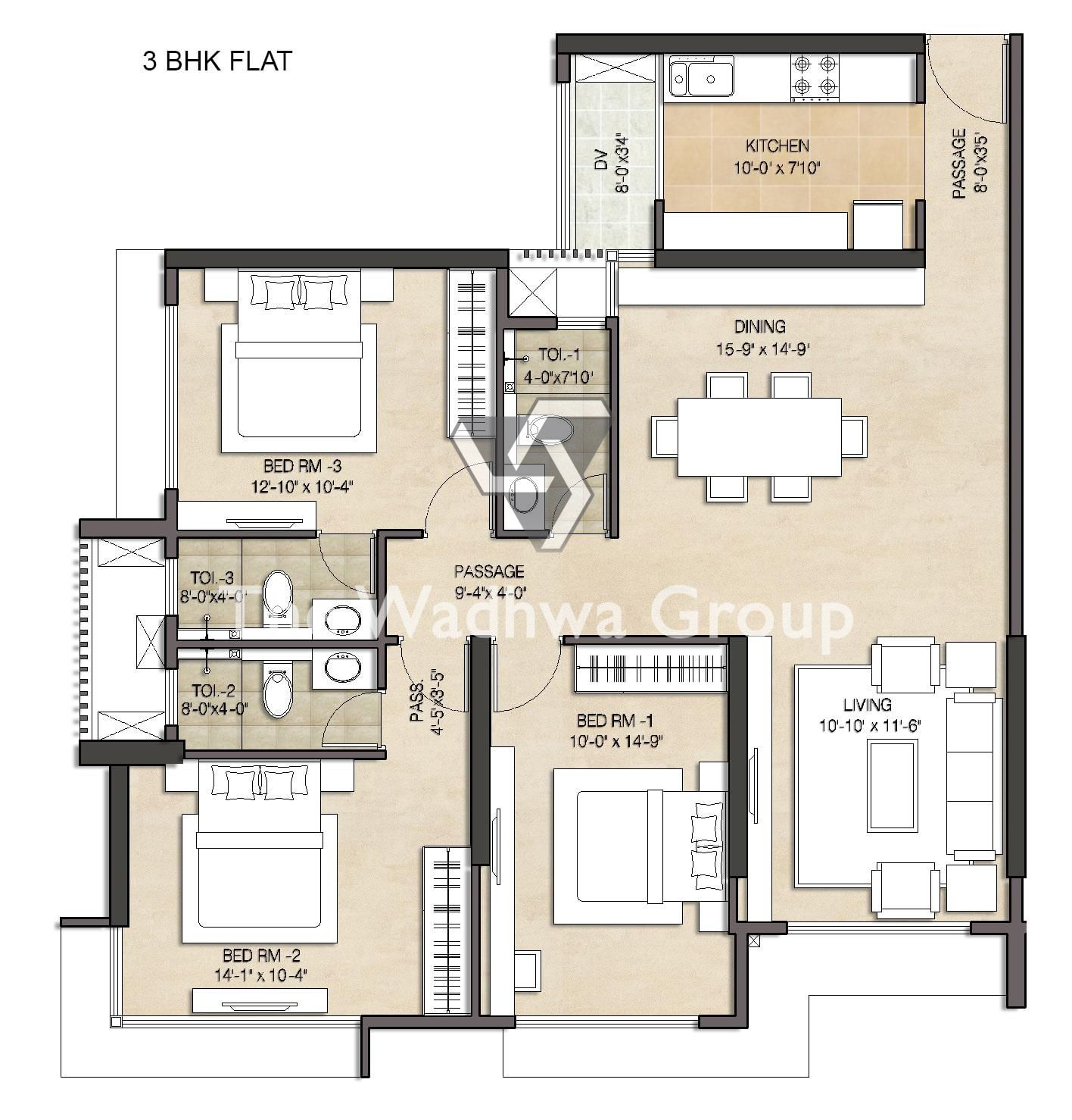 3bhk Floor Plan Of Anmol Fortune Apartment Floor Plans Bungalow Design Residential Design