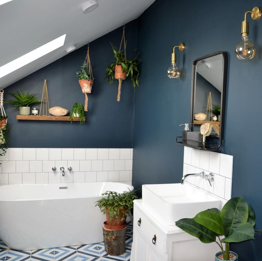 G M Daily Interior Inspiration On Instagram Morning It S Friday Thank You All So Much For Sharing All In 2020 Dark Blue Bathrooms Dark Bathrooms Bathroom Design