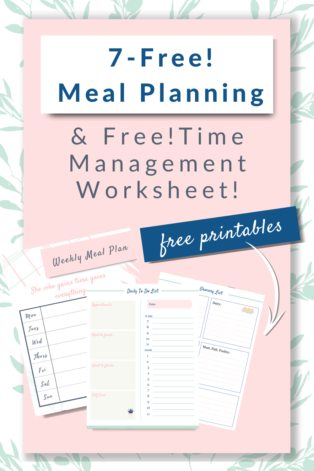 Free! Meal Planning & Daily Productivity Planner in 2020