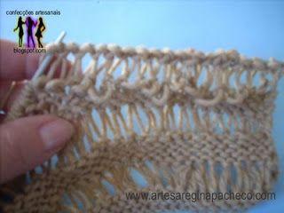 Cachecol com o ponto tricô deslizado Artesanato e Cia
