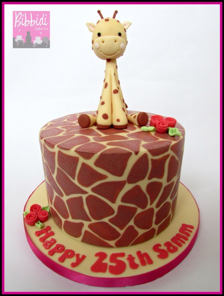 Giraffe print cake with sugarpaste giraffe by Bibbidi Cake Co