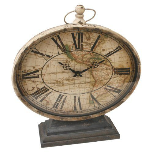 Watching Clocks Large Rustic Oval Mantel Clock Desk Clock Map Design Vintage Mantel Clocks Rustic Clock Clock
