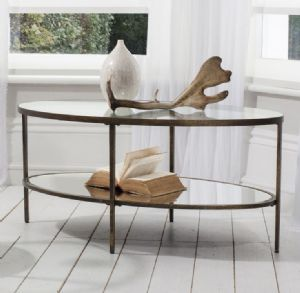 Awesome Temperley Bronze Oval Glass Coffee Table
