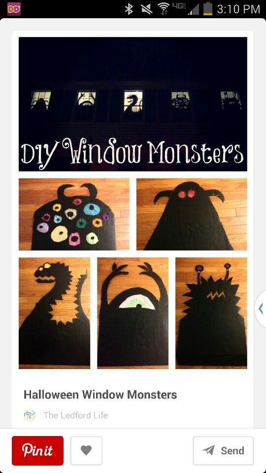 Monster windows Fall Pinterest Monsters and Window - halloween window decorations