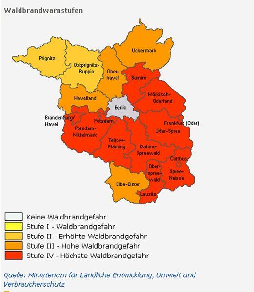 Aktuelle Waldbrandstufen In Brandenburg Www Maerkischeallgemeine