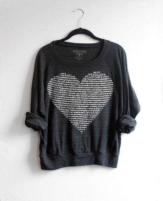 tier liebhaber slouchy herz sweatshirt leichte pullover. Black Bedroom Furniture Sets. Home Design Ideas