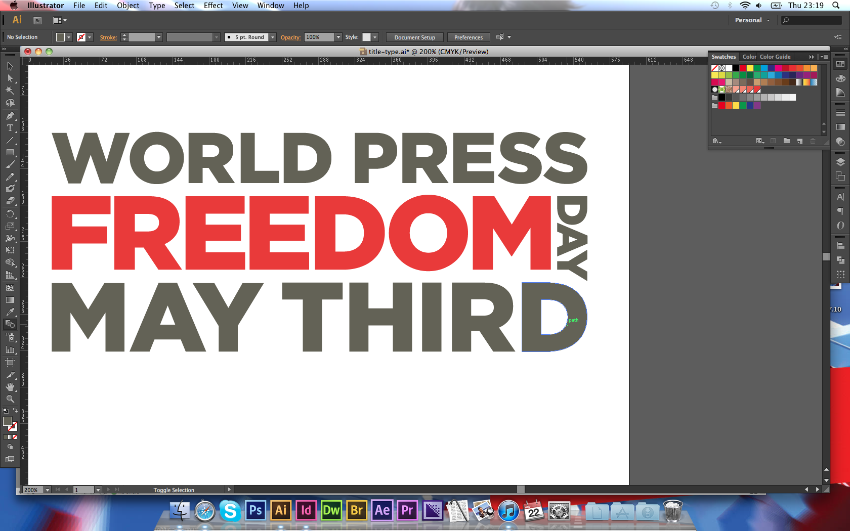 [05] Playing with type for my print sides title. The gap