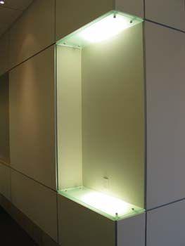 Glass Corner Shelf Installed With Standoffs And Recessed Lighting Denver  Glass Interiors