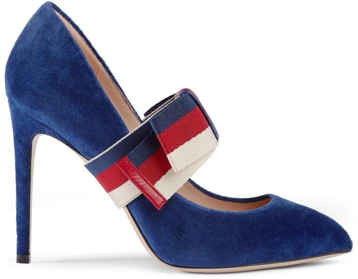 917115ee9 Velvet pump with removable Sylvie bow Gucci Pumps, Gucci Shoes, High Heels,  Red White and Blue Gucci Heels