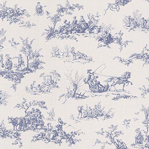 Rasch lazy sunday blue toile de jouy paste the wall - Chambre toile de jouy ...