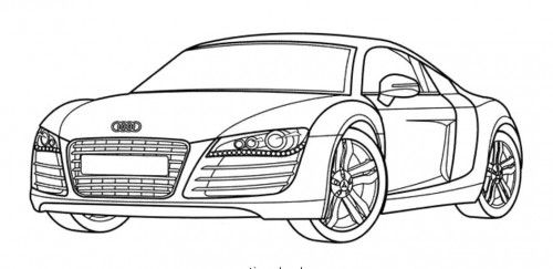 Racing car audi has a nice body shape coloring page auto - Coloriage audi r8 ...