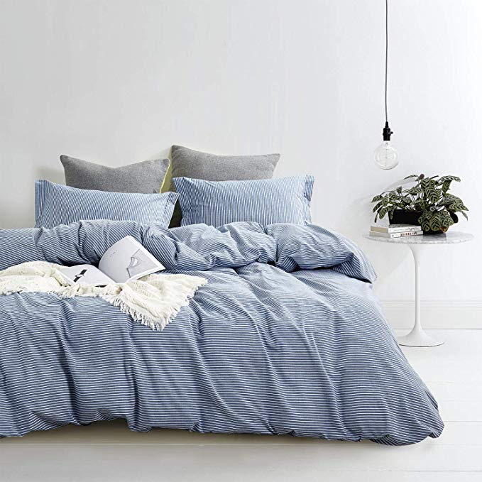Amazon Com Wake In Cloud Washed Cotton Duvet Cover Set White