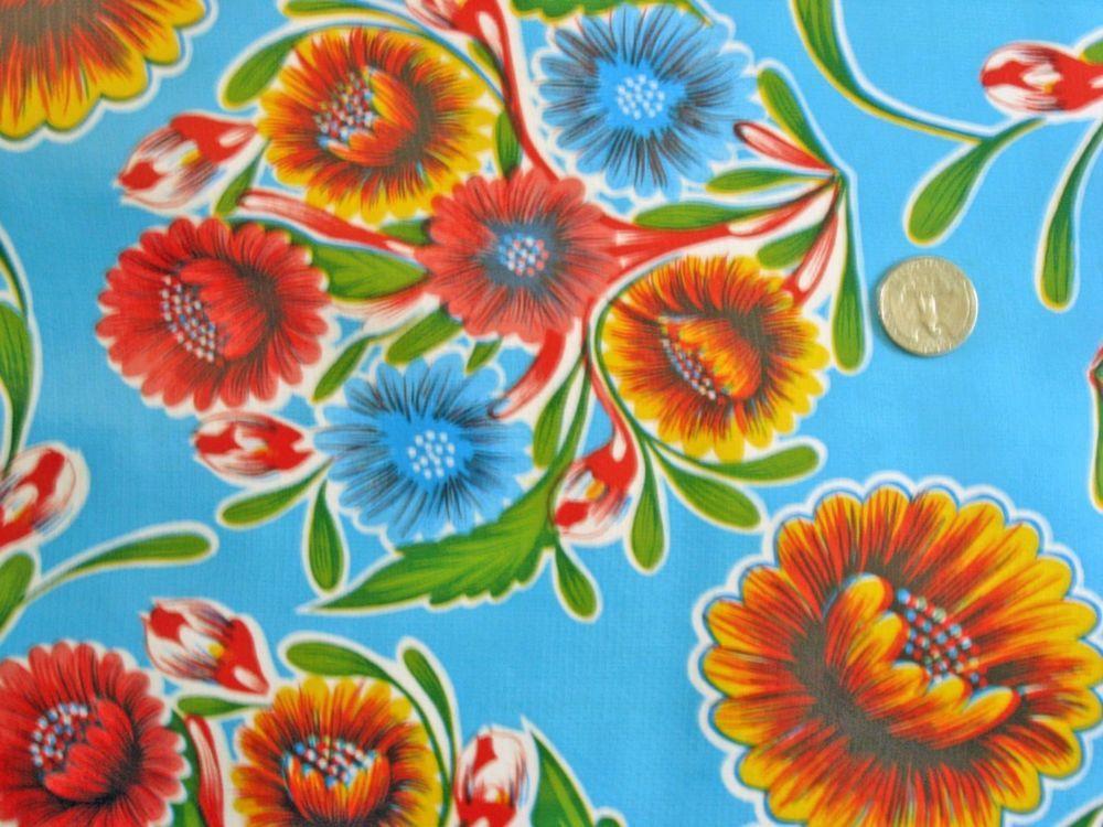 Aqua Blue Bloom Mexican Fiesta Picnic Patio Bbq Oilcloth Vinyl