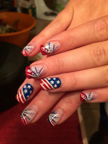 Patriotic Red White And Blue Gel Nail Art Design 4th Of July Nails Mountain Prairie