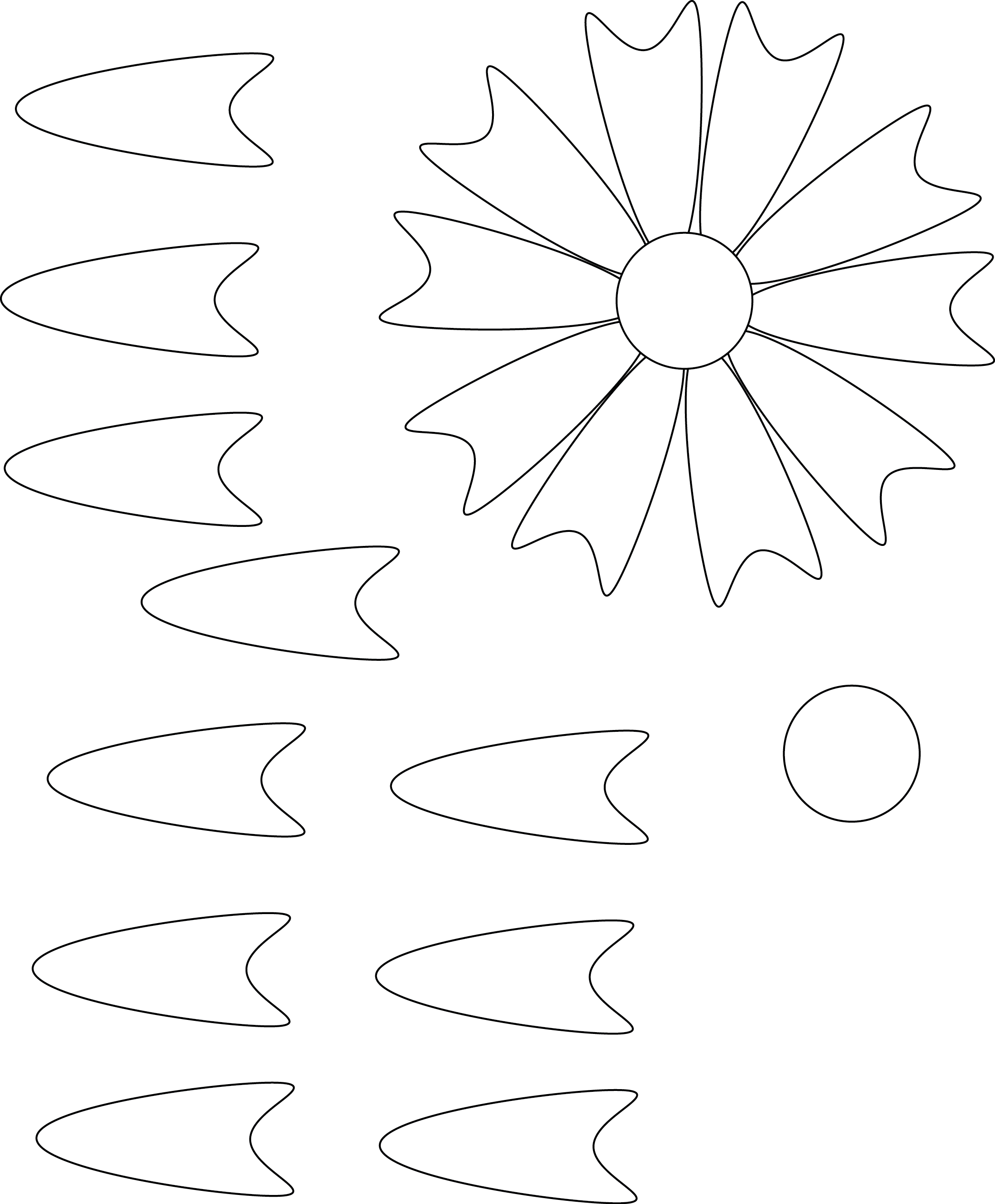 Sunflower template to cut out the image for Paper cut out templates flowers