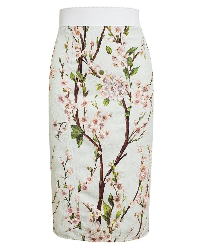 DOLCE & GABBANA Floral Printed Textured Pencil Skirt