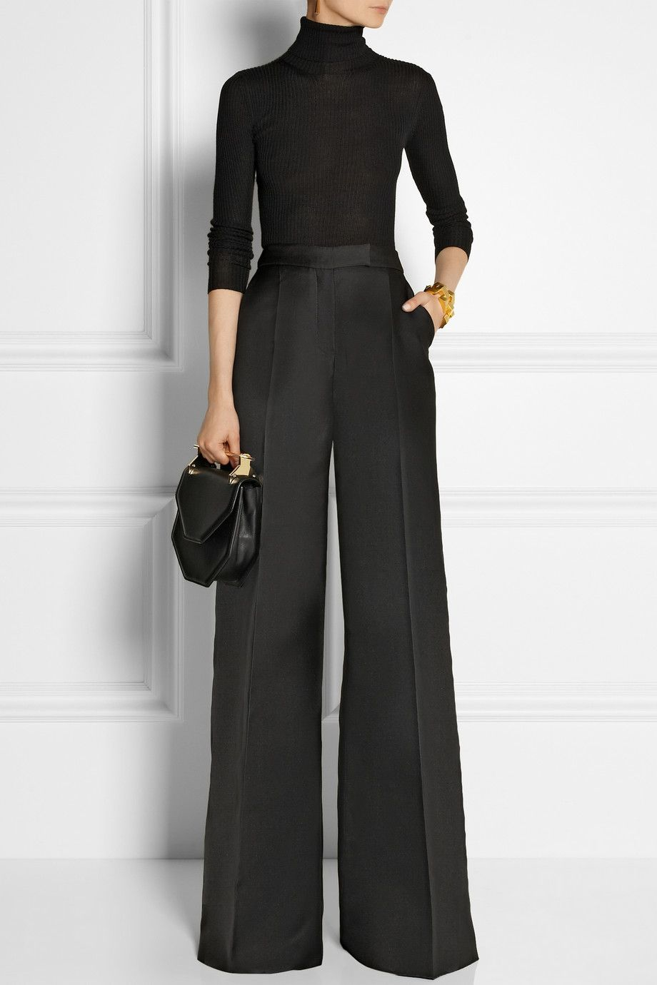 020dee2186 Antonio Berardi | Satin wide-leg pants | loving the black/gold elegant look