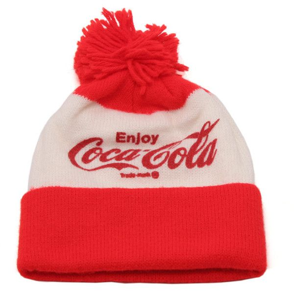 ce0529c8a1a Coca Cola Winter Cap White Red ❤ liked on Polyvore