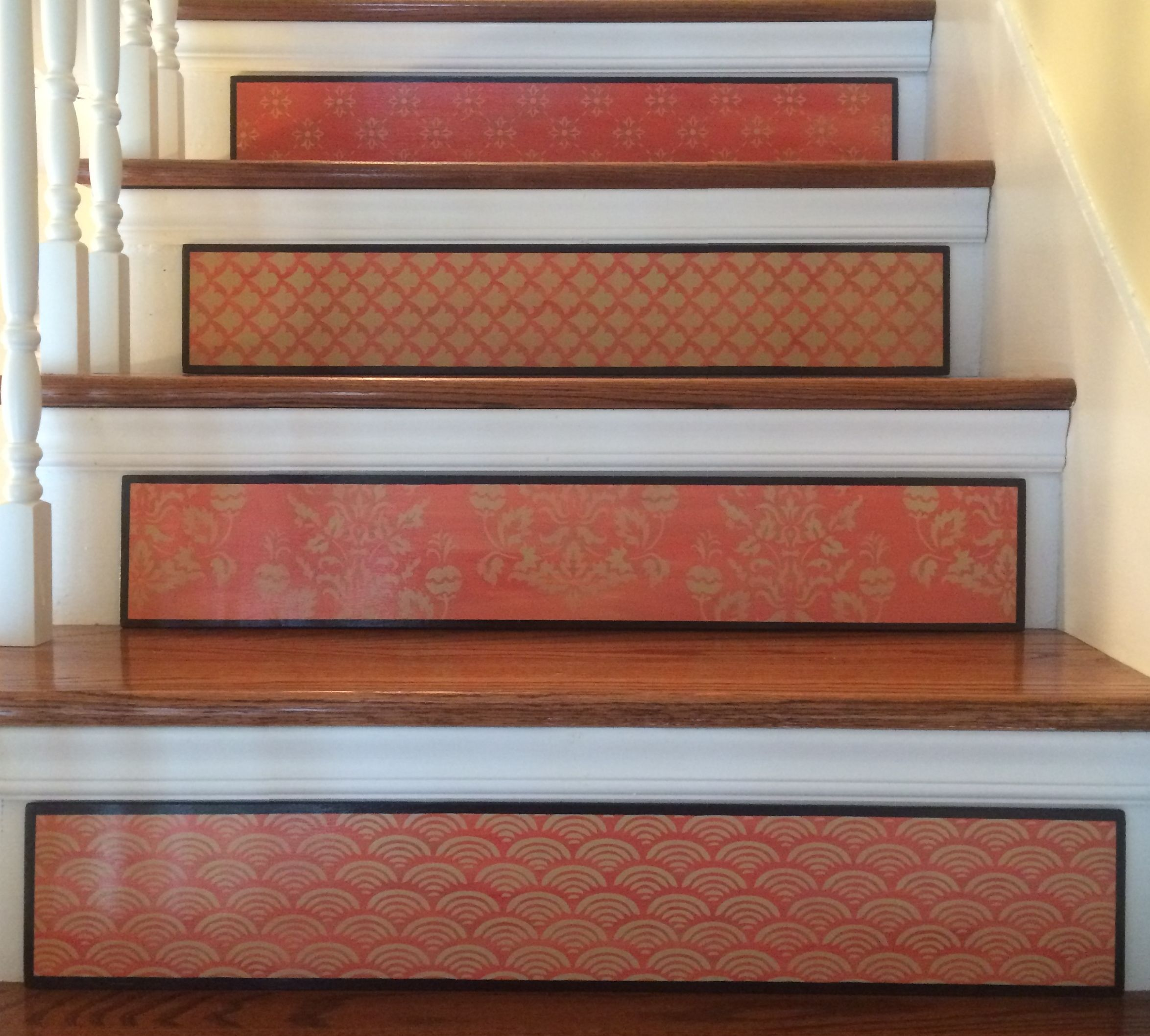 Stair Riser Ideas Stair Riser Art Plaques From Tribute Designs On Etsy The Complete Hand Painted Rouge Collection V Riser Art Painted Stairs Stair Decals