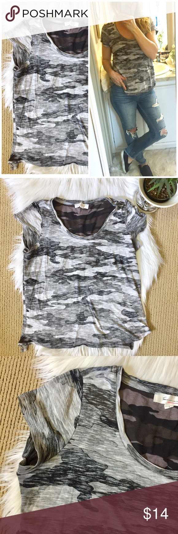 """20a1f30e4 Two Vince Camuto Camo Tee Black and gray camouflage jersey short sleeved t- shirt. Slightly relaxed fit.▫️Size Small ▫️19"""" flat across bust and 22.5""""  ..."""