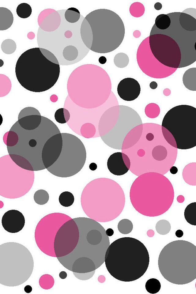 Pink And Black Dots Polka Dot Background Iphone