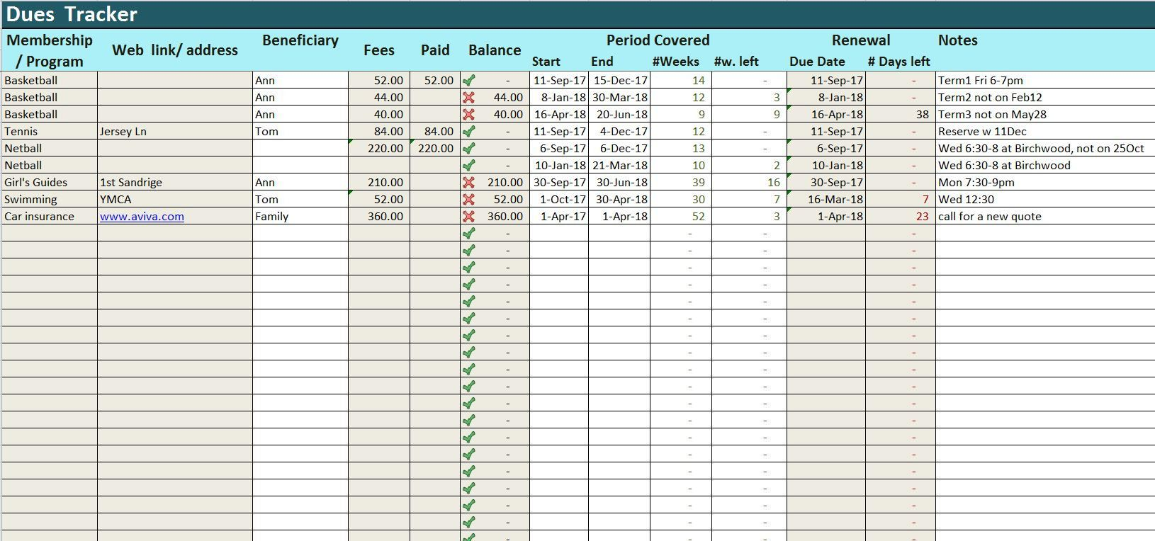 Dues Tracker Excel Template Prepayments Log Spreadsheet
