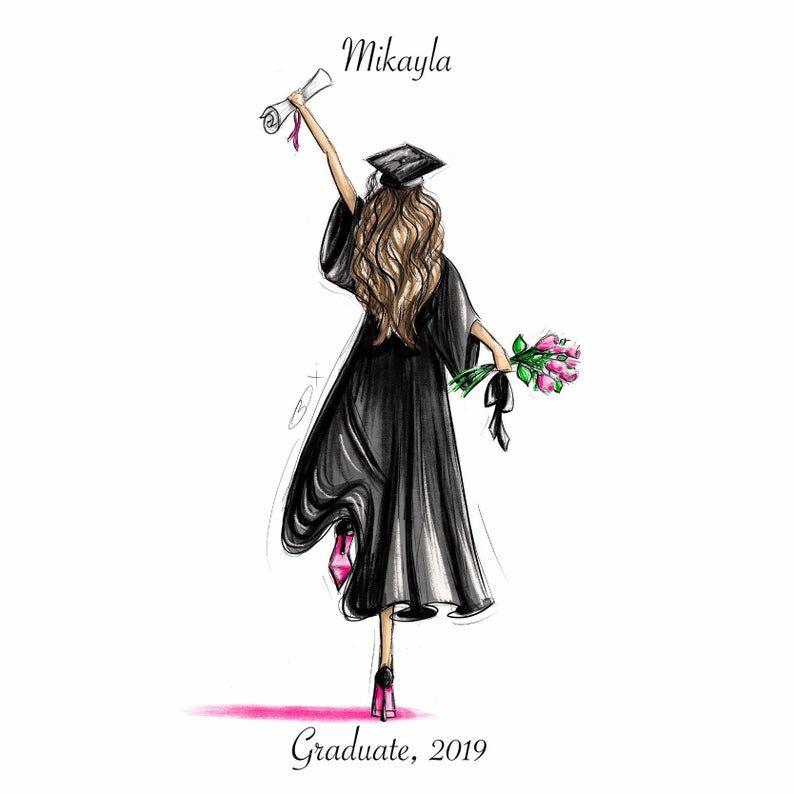 Scroll And Roses Customizable Graduation Gift Fashion Illustration Art Print Graduation Art Graduation Wallpaper Graduation Drawing