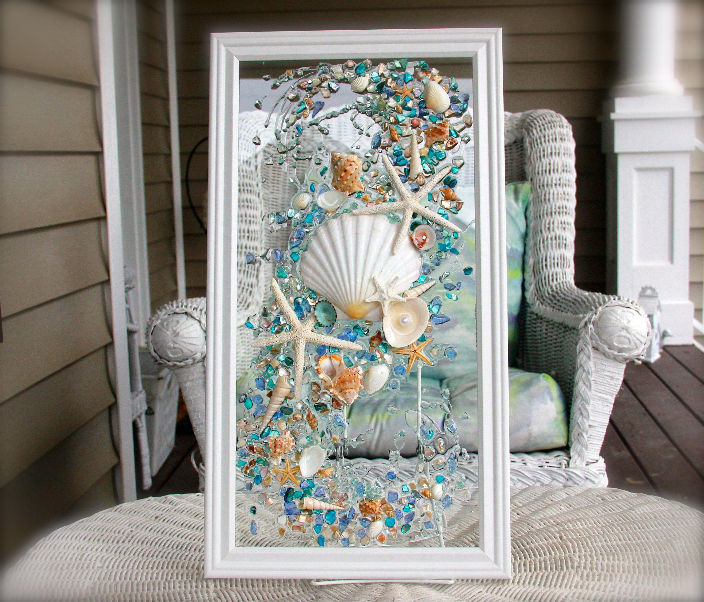 Sea Glass Art For Beach Decor Seashell Wall Art For Nautical Etsy Seashell Wall Art Sea Glass Art Beach Glass Art