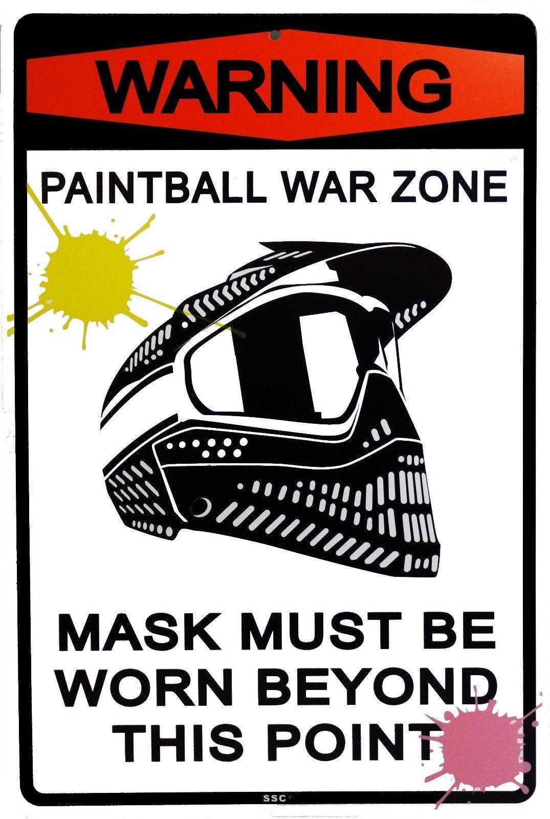 Warning Paintball War Zone Mask Must Be Worn Sport