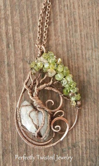 Wire Wrapped Tree of Life Bonsai Pendant Peridot, Crystal Wire Wrap ...