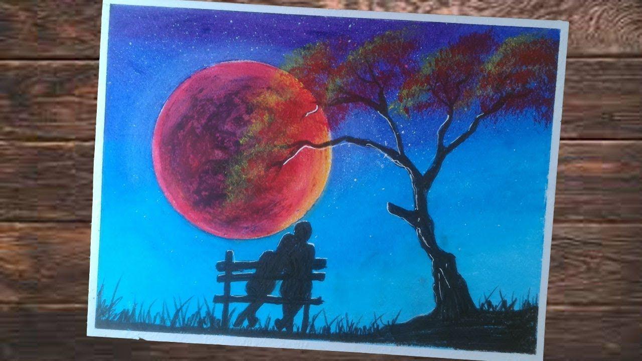 Pemandangan Rembulan Merah Dan Pasangan Romantis Red Moon Cara Menggam Cara Menggambar Abstrak Buku Mewarnai