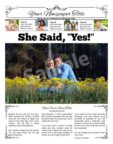 Front Page Wedding Announcement Try This X Newspaper