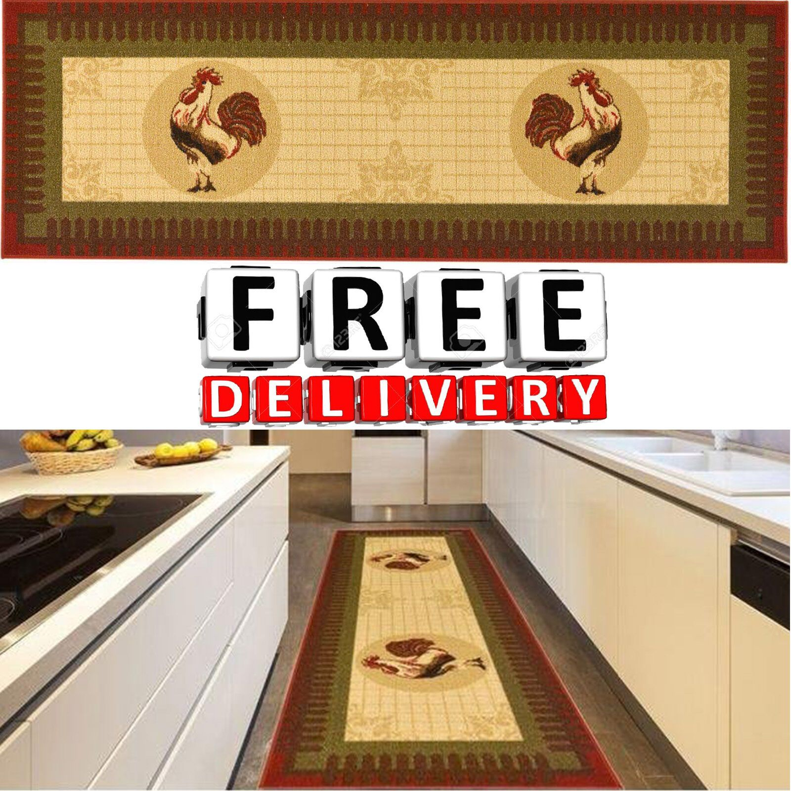 Rooster Rug Runner Kitchen Long En