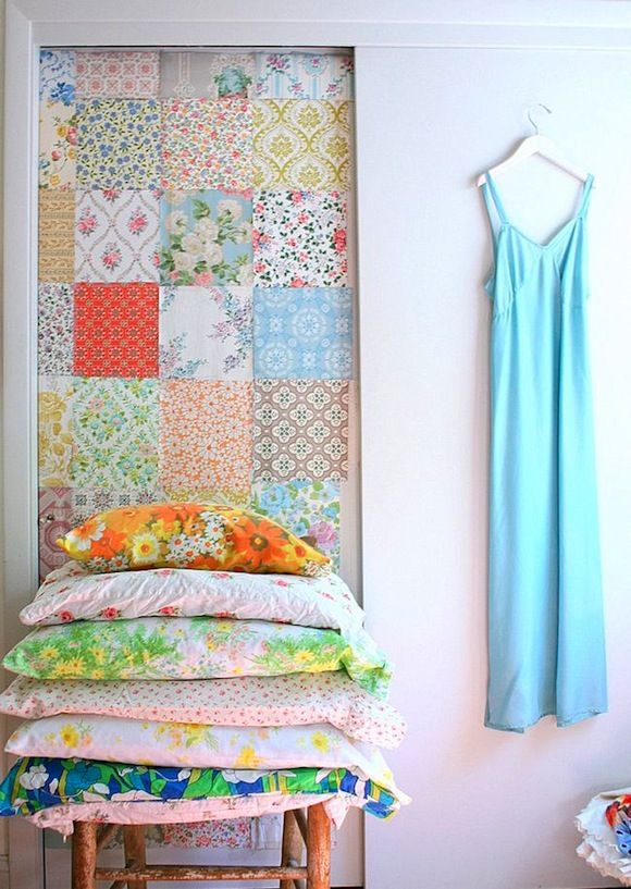 Take vintage wallpaper scraps and use them to pretty up a plain sliding closet door.