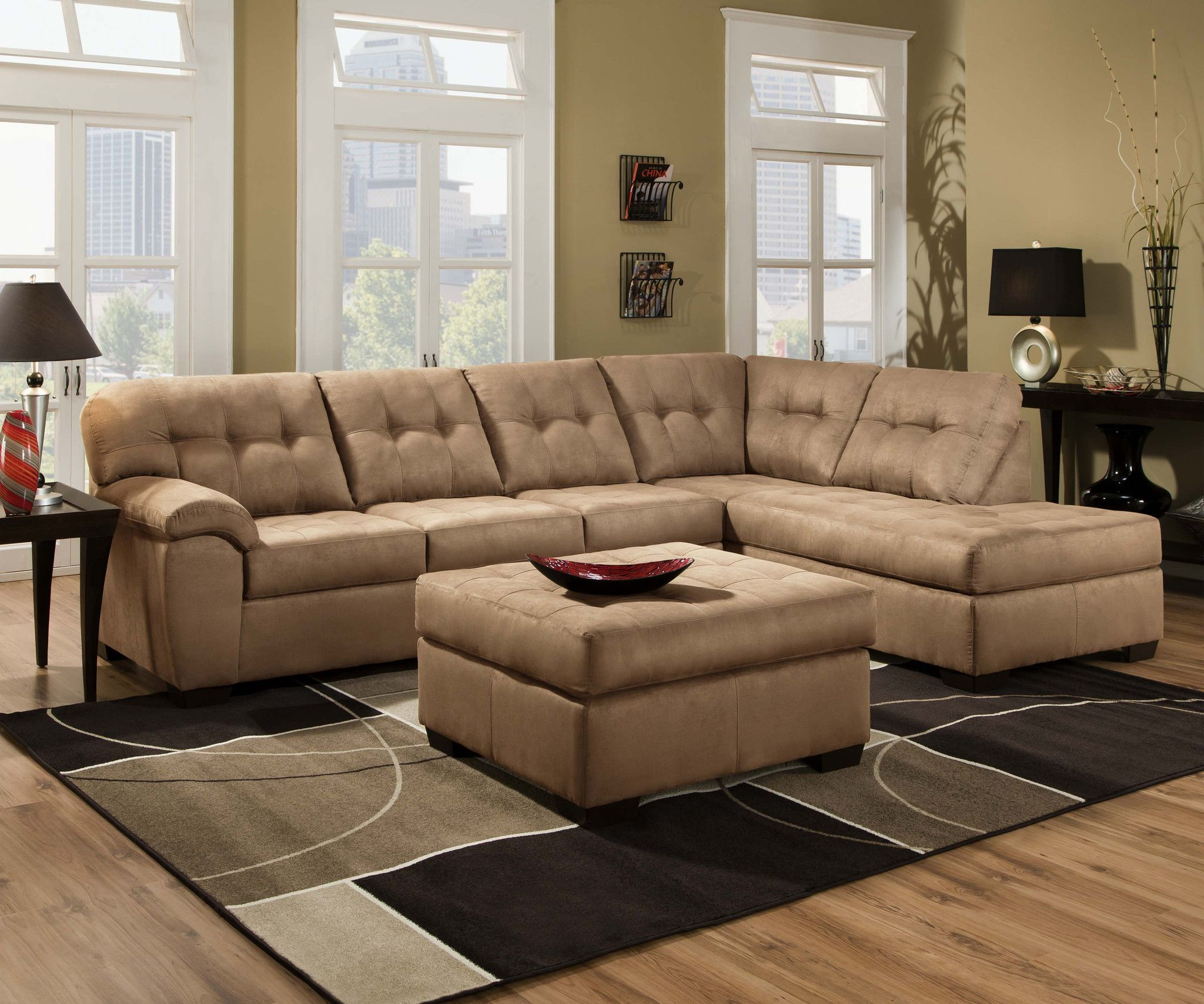 Simmons Upholstery 9558 Velocity Latte Sectional High Point