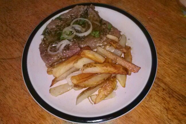 Steak with chimichurri onion cilantro top and french fries | Wilma\'s ...