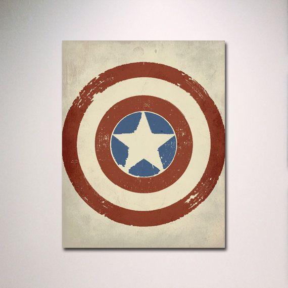 Captain America Inspired Minimalist Poster Wall Art Man Cave In 2020 Man Cave Wall Art Captain America Poster Prints
