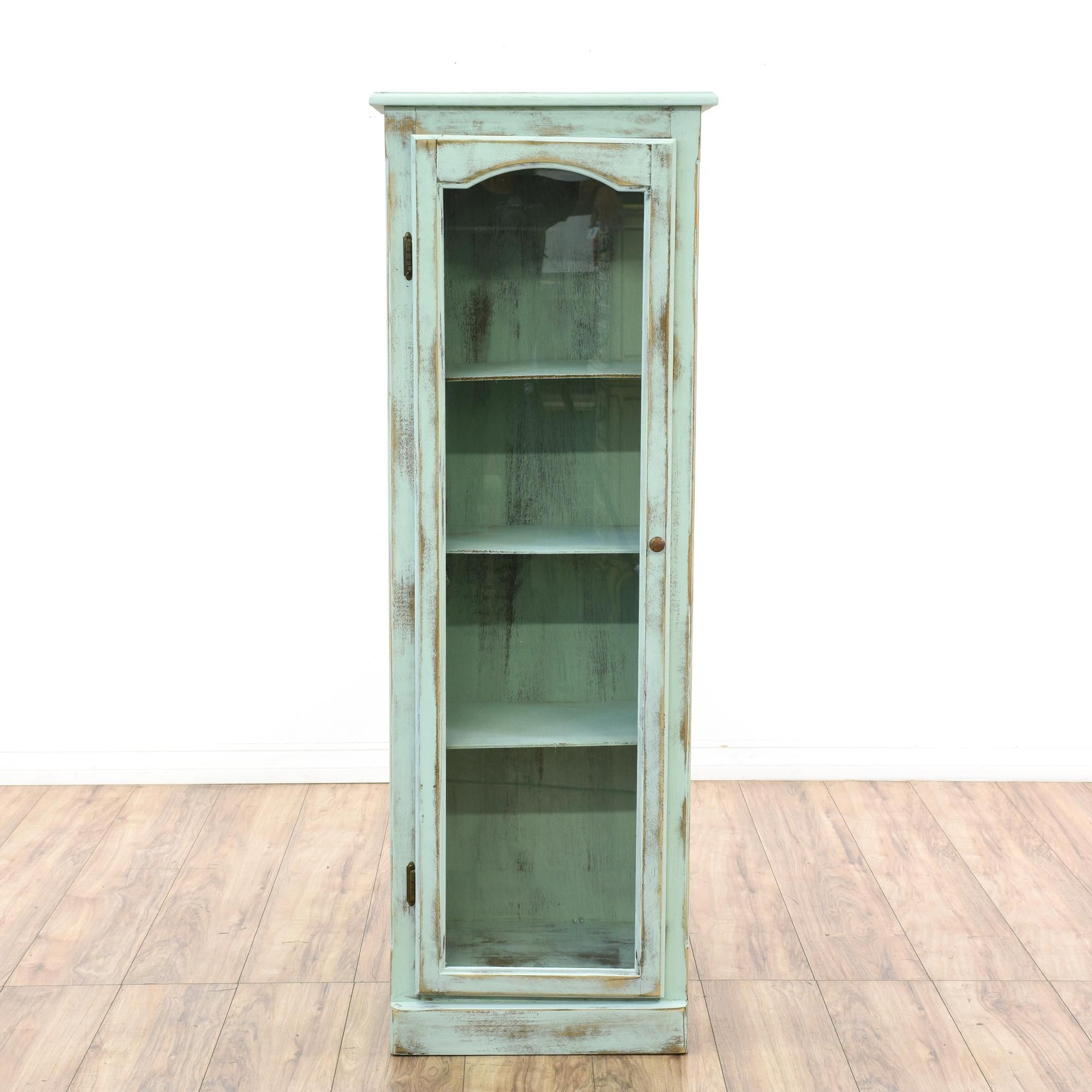 This Shabby Chic Display Cabinet Is Featured In A Solid Wood With A  Distressed Light Blue Chalk Paint Finish. This Curio Cabinet Has A Glass  Front Door With ...